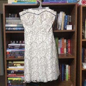 Semi formal cream and black lace dress
